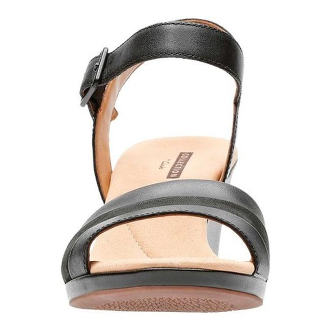 3fc5c96b3ff48d Shop Clarks Women s Lafley Aletha Wedge Sandal Black Leather - Free  Shipping Today - Overstock - 20702501