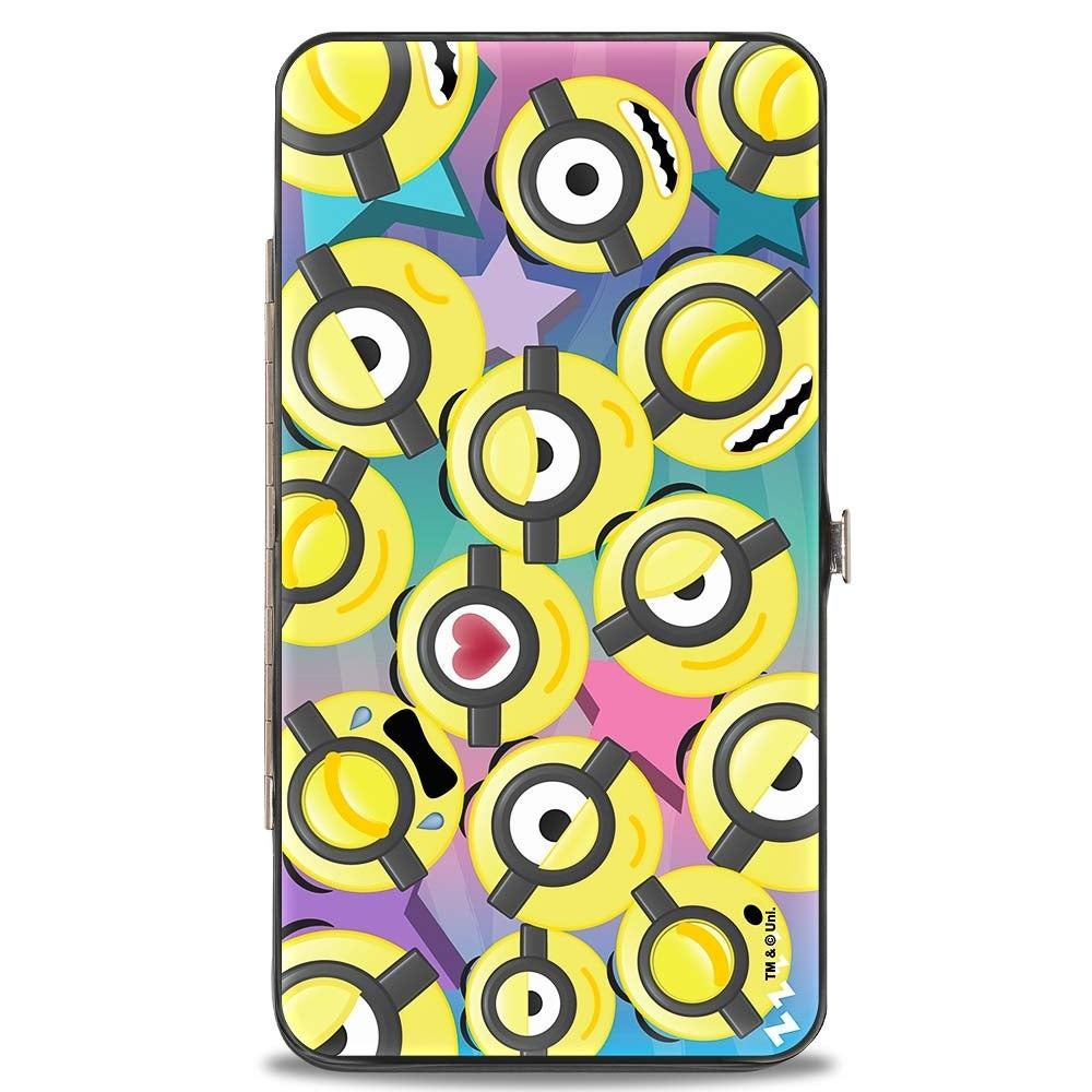 minion emojis scattered stars blues pinks hinged wallet one size