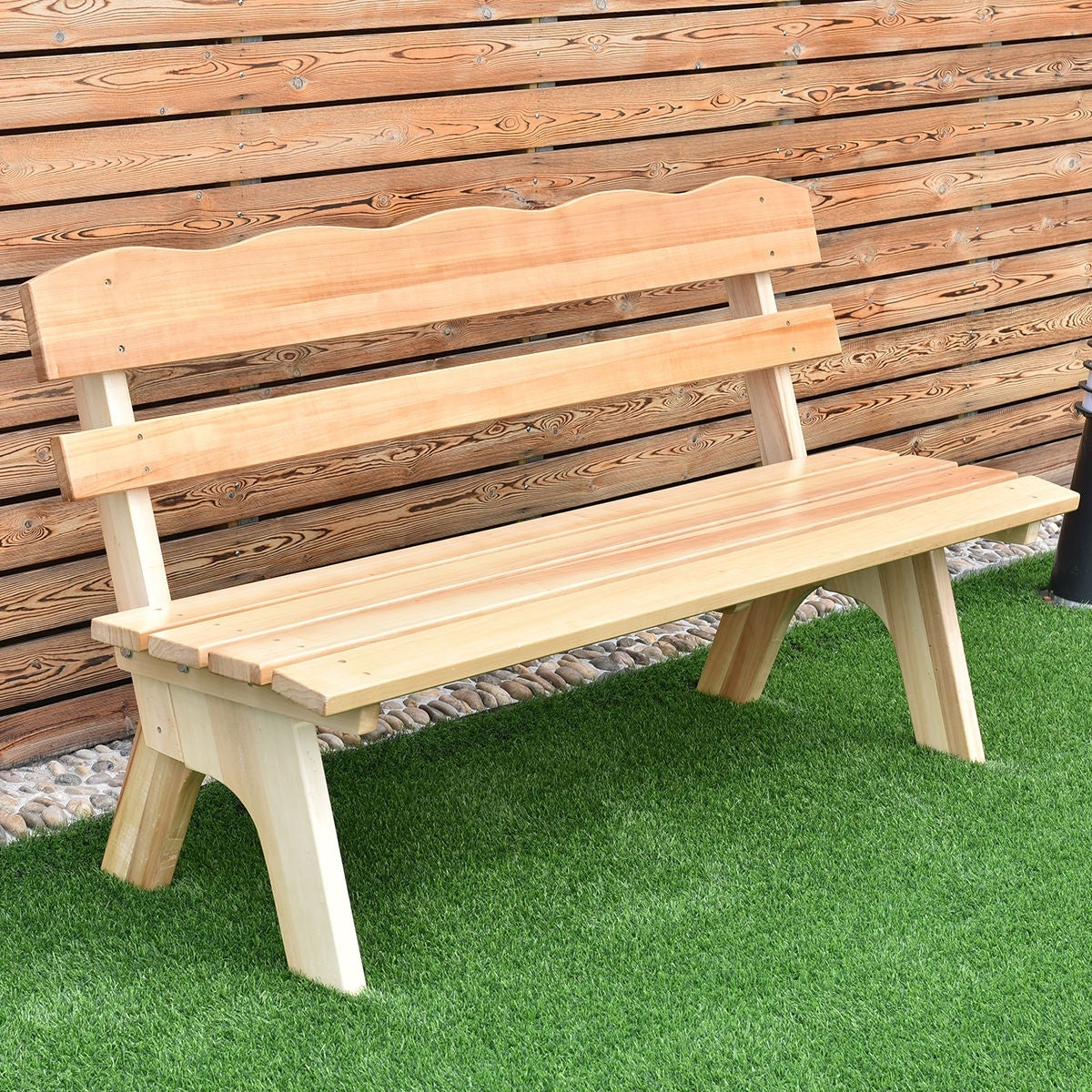 Shop Costway 5 Ft 3 Seats Outdoor Wooden Garden Bench Chair Wood Frame Yard  Deck Furniture   Free Shipping Today   Overstock.com   15943334