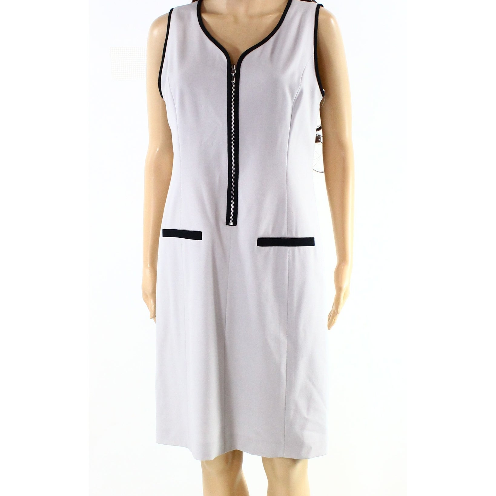 6c511a88abc Shop Nine West NEW Gray Women Size 12 V-Neck Contrast Zip Front Sheath Dress  - Free Shipping On Orders Over  45 - Overstock - 20869580