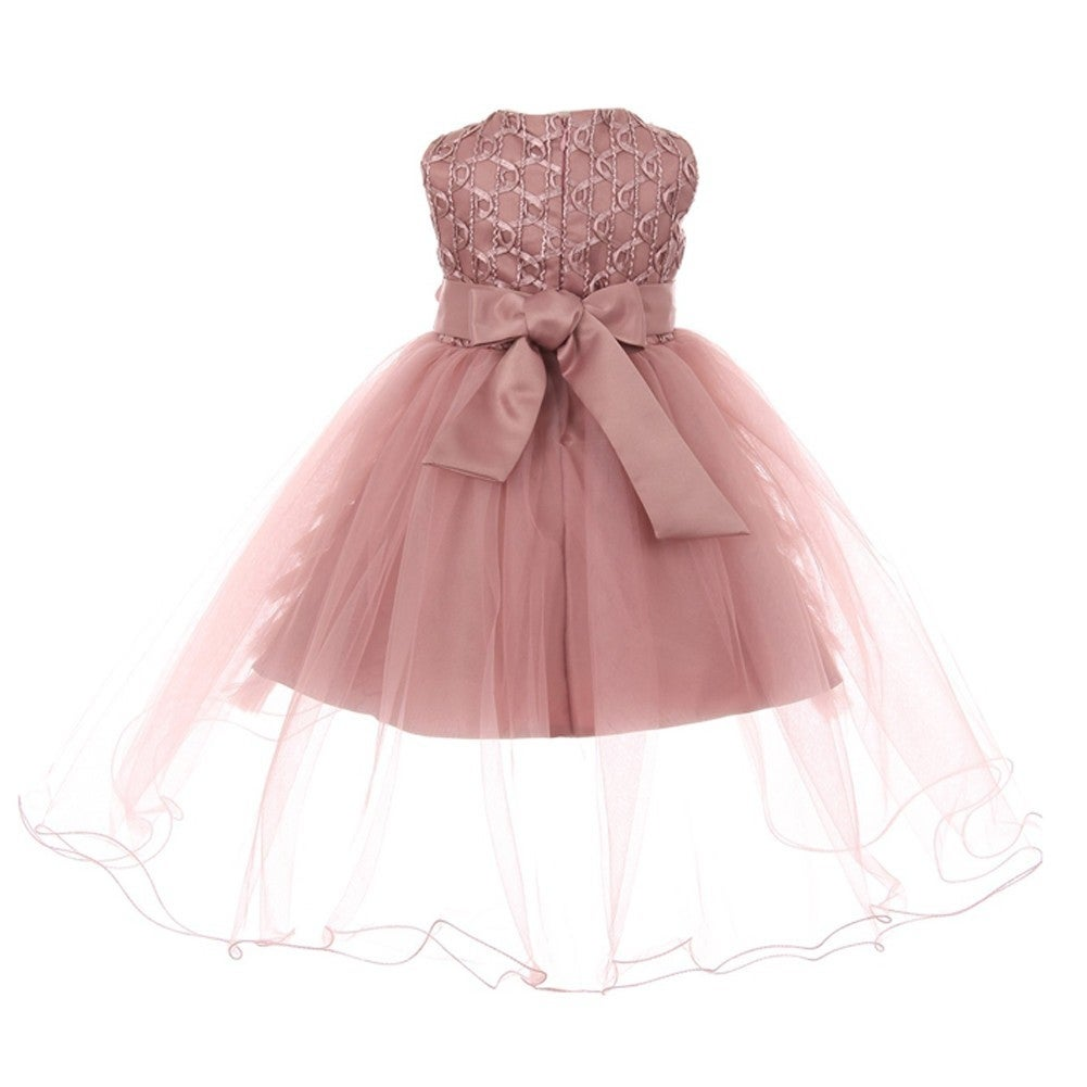 Shop Girls Dusty Rose Pearl 3D Flower Adorned Junior Bridesmaid ...