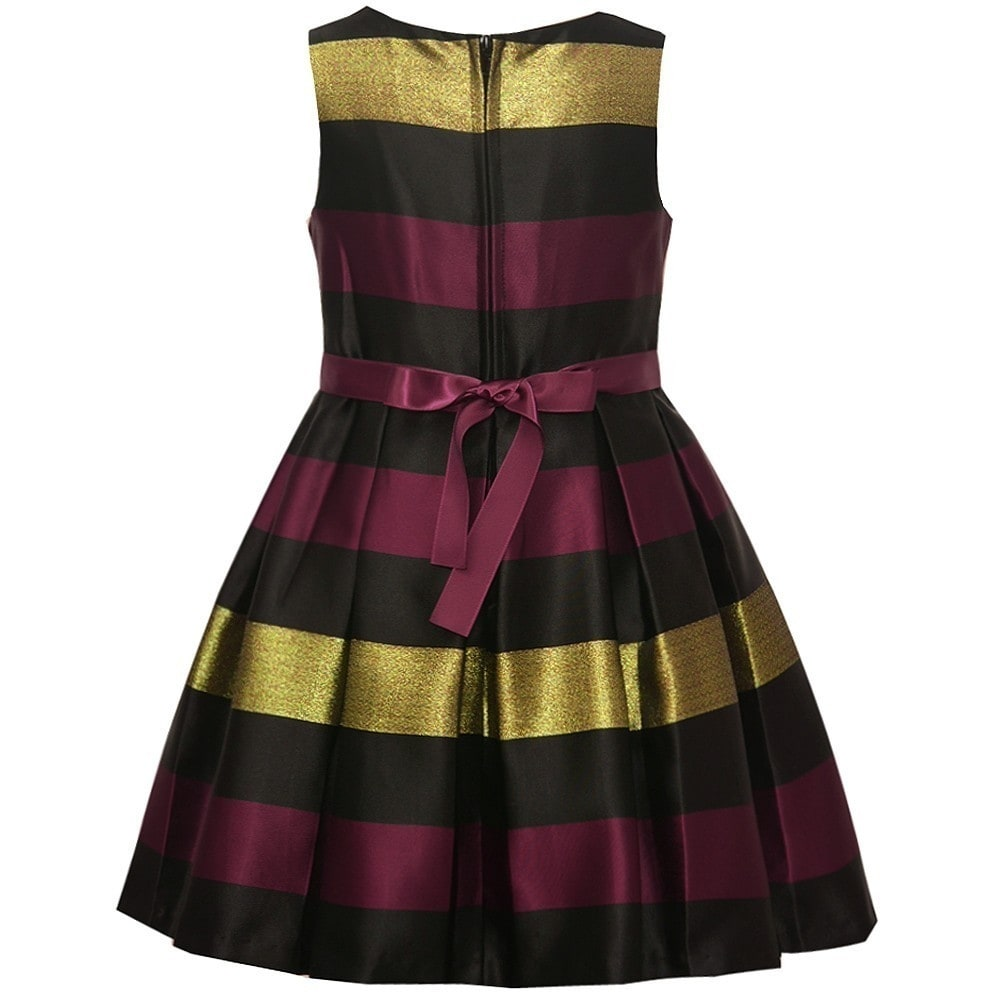 f558374cca538 Shop Bonnie Jean Little Girls Burgundy Black Gold Stripe Christmas Dress -  Free Shipping On Orders Over $45 - Overstock - 19293947