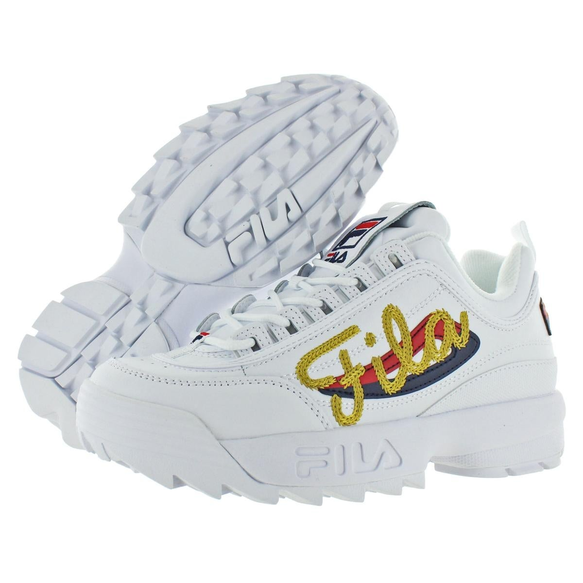 c4395107439 Fila Womens Disruptor II Signature Fashion Sneakers Leather Padded Insole