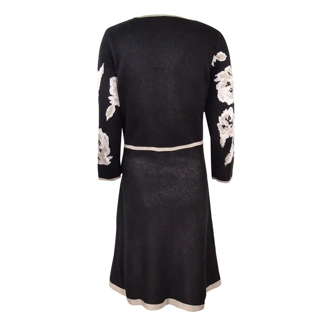 7e2310e307 Shop Jessica Howard Women s Petite Floral-Print Fit   Flare Sweater Dress -  Black - Free Shipping On Orders Over  45 - Overstock - 17573203