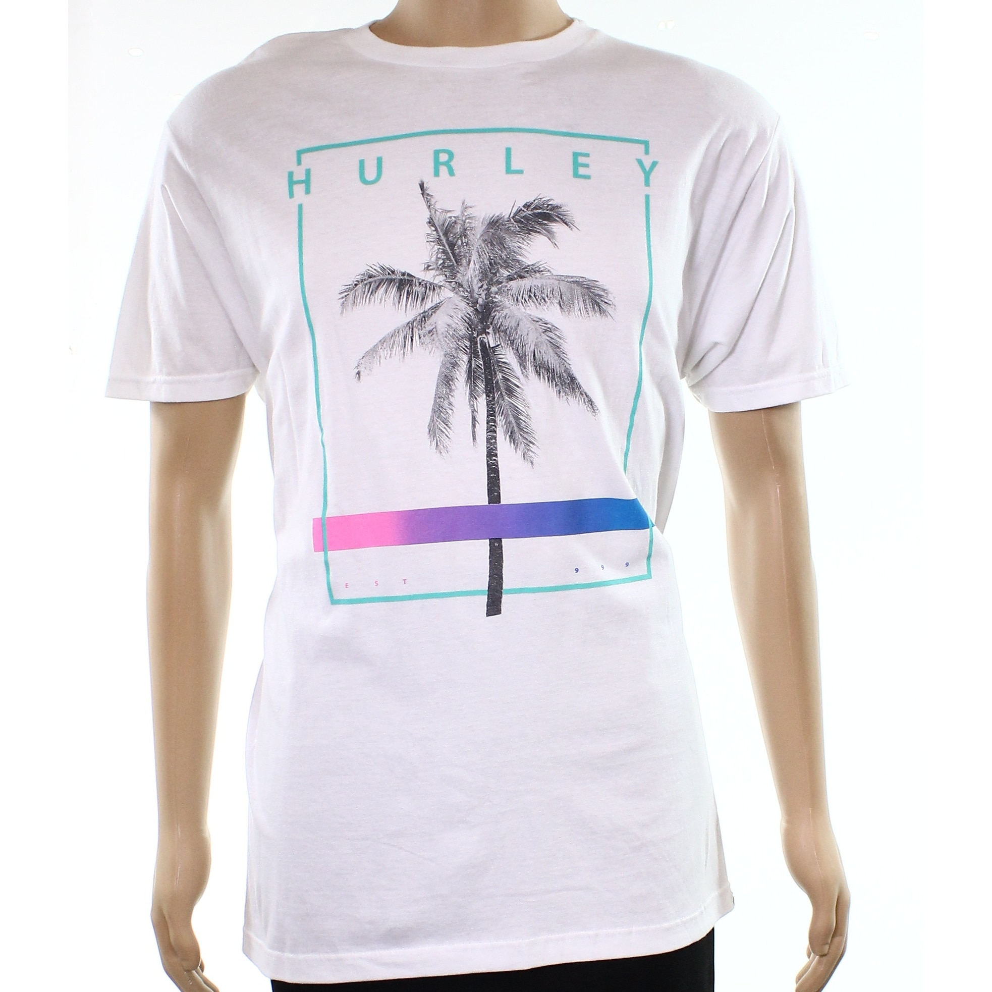 Hurley NEW White Mens Size L Palm Tree Logo Graphic Tee T