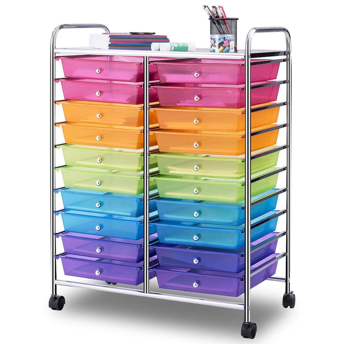 Gentil Gymax Office Rolling Cart 20 Storage Drawers Scrapbook Paper Studio  Organizer Mutli Color