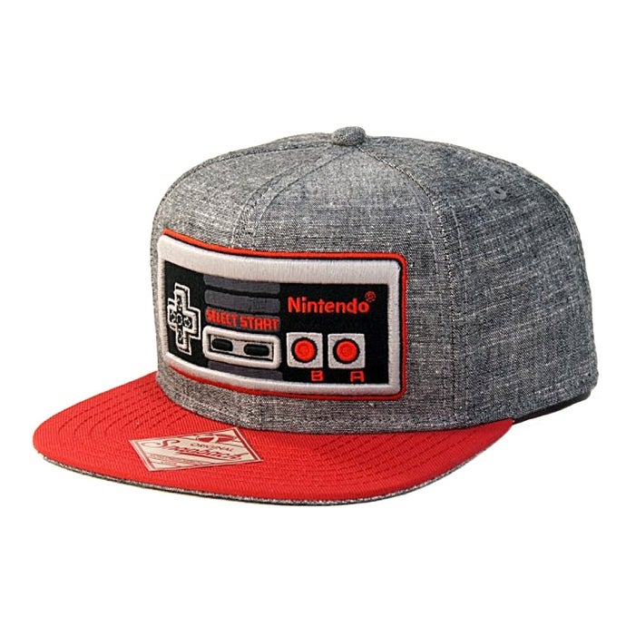 a33927852 Shop Nintendo Classic NES Controller - Snapback Hat, Gray and Red ...