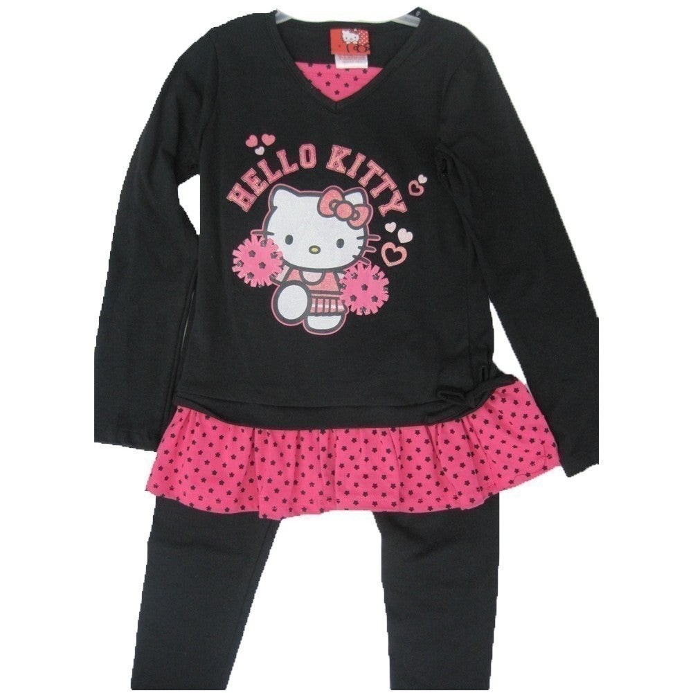 ccfc769aa Shop Hello Kitty Little Girls Black Fuchsia Dotted Ruffle 2 Piece Legging  Set 4-6X - Free Shipping On Orders Over $45 - Overstock - 18166112