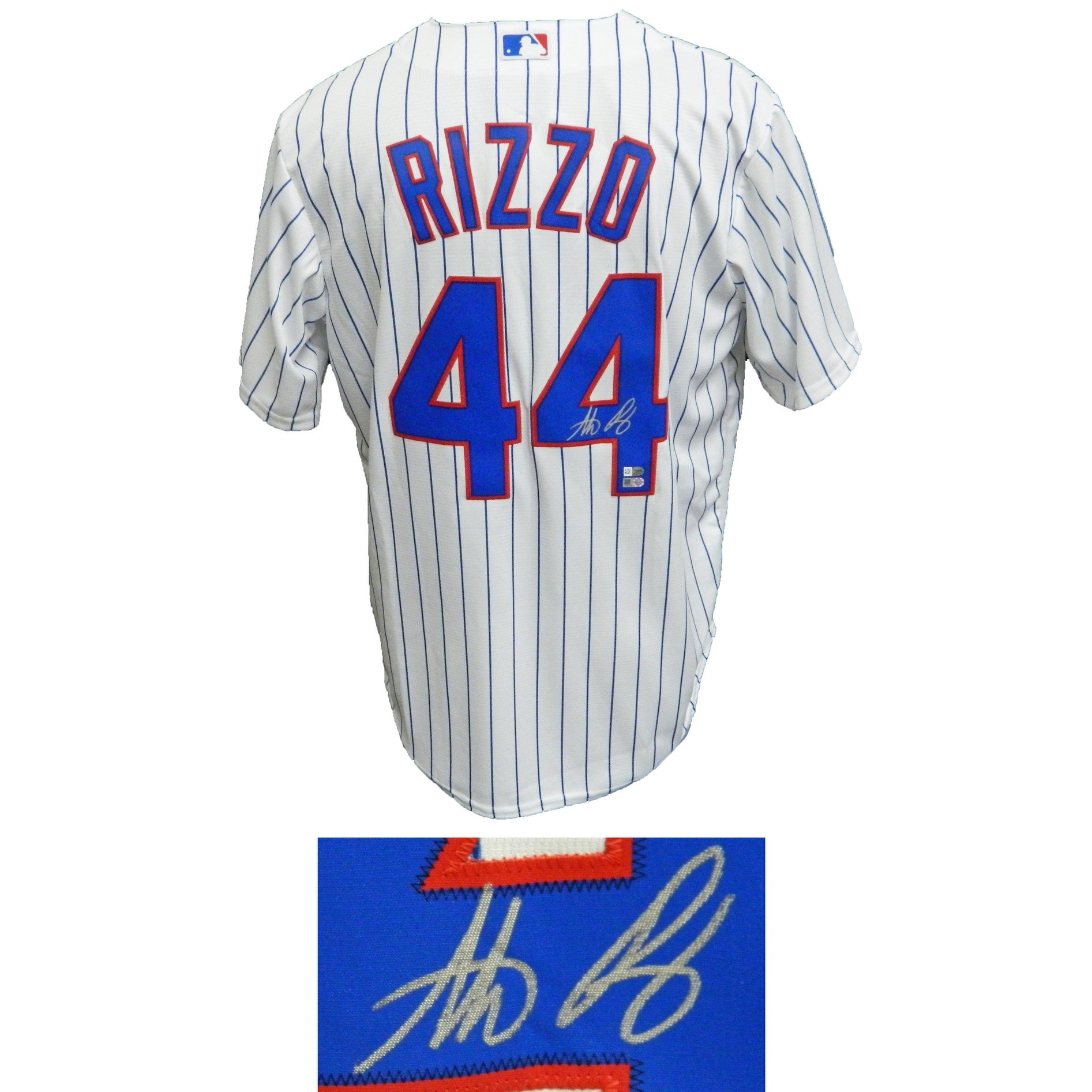 bd82d7360 Shop Anthony Rizzo Chicago Cubs White Pinstripe Majestic Jersey - Free  Shipping Today - Overstock - 13271083