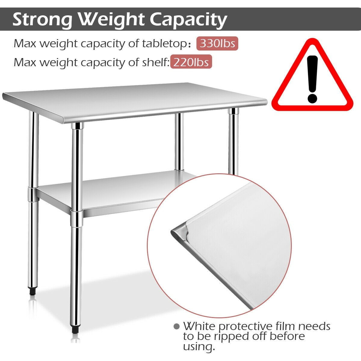 Costway 24'' x 36'' Stainless Steel Work Prep Table Commercial Kitchen  Restaurant - sliver