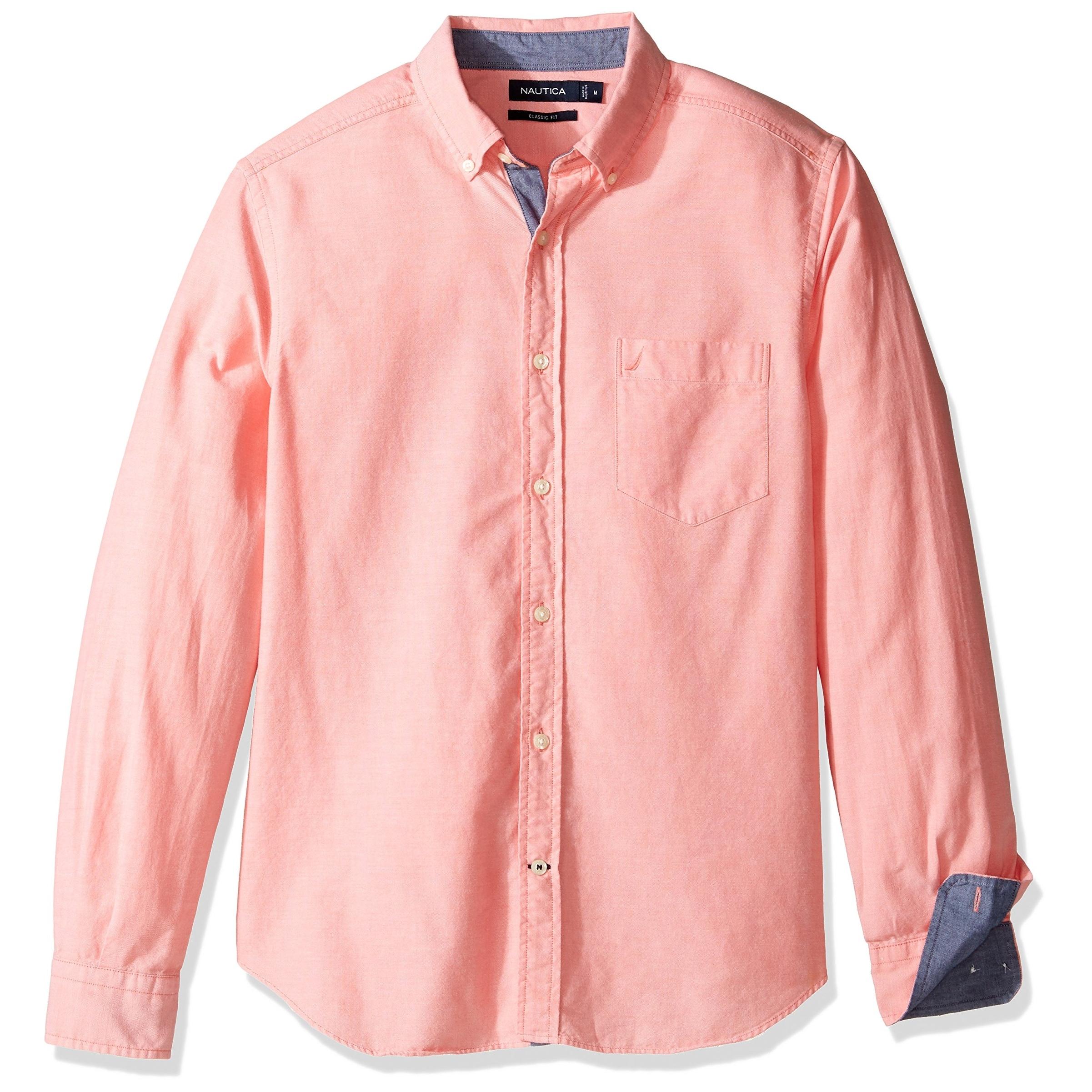 Shop Nautica New Pale Coral Pink Mens Size 2xl Button Down Oxford