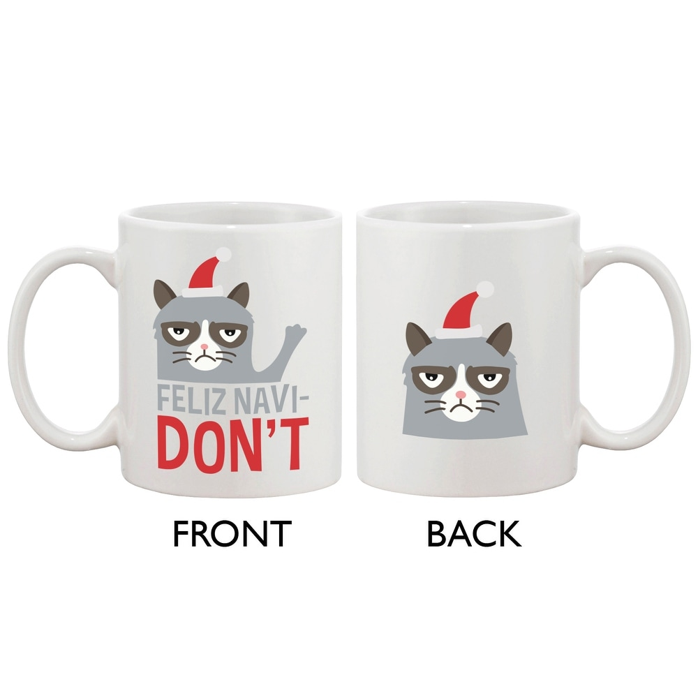 Cute Grumpy Cat Holiday Coffee Mug Feliz Navidon T Funny Cup On Free Shipping Orders Over 45 14517942