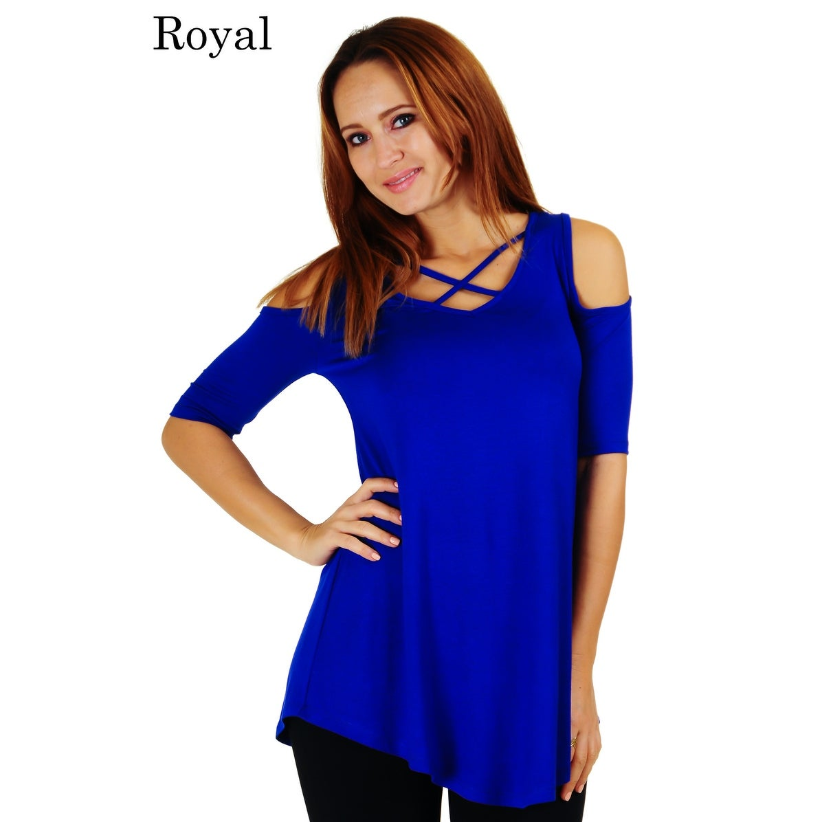 5e9a5290fe81a Shop Simply Ravishing Women s Cold Shoulder Criss Cross Neck Half Sleeve Top  (Size  S-5X) - Free Shipping On Orders Over  45 - Overstock - 20716822