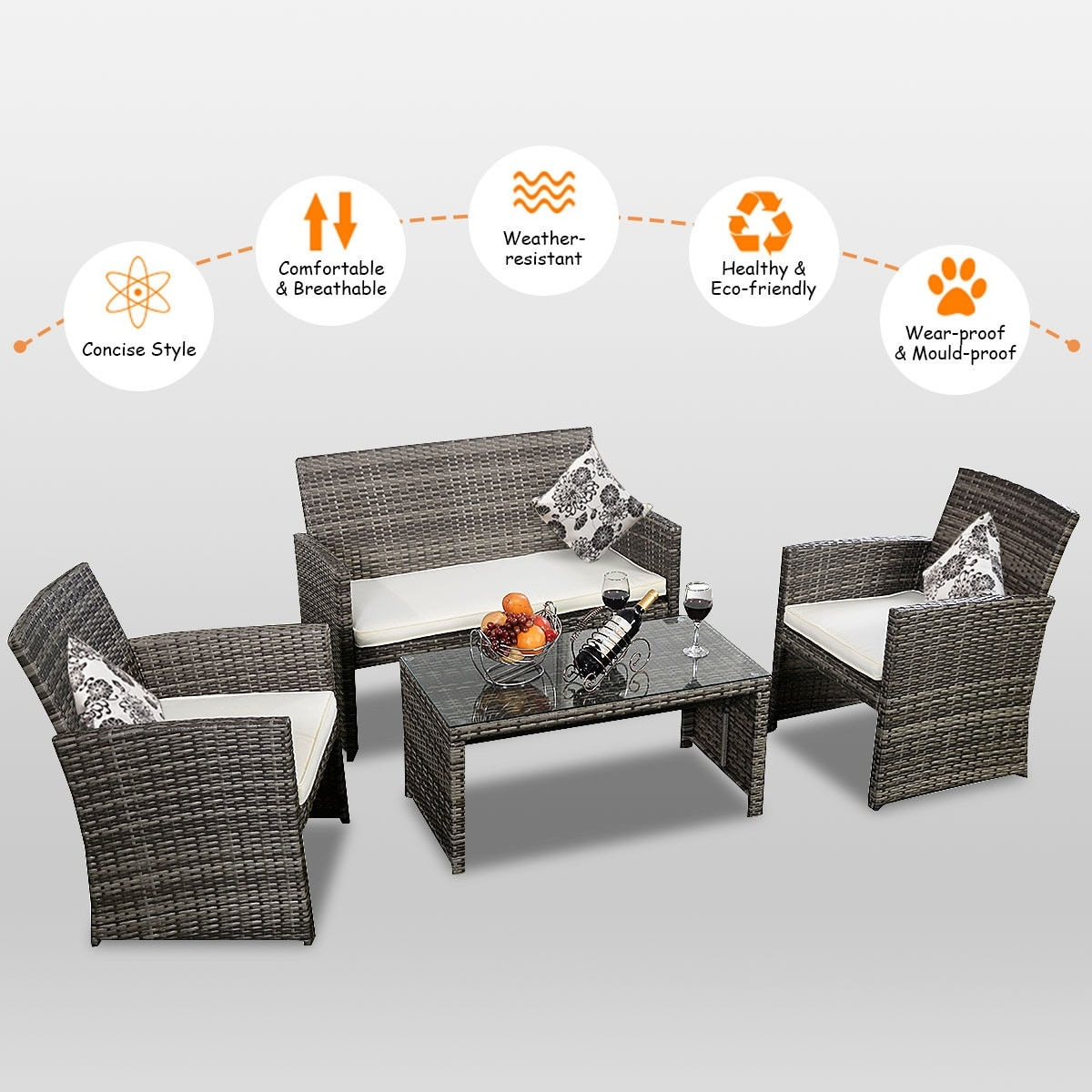 Delightful Shop Costway 4 Pc Rattan Patio Furniture Set Garden Lawn Sofa Cushioned  Seat Mix Gray Wicker   Mix Gray   Free Shipping Today   Overstock.com    15801777