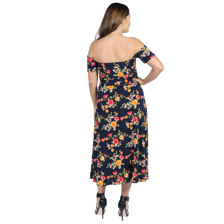 266e1654f0c8b Shop 24Seven Comfort Apparel Eleanor Navy Floral Side Slit Plus Size ...