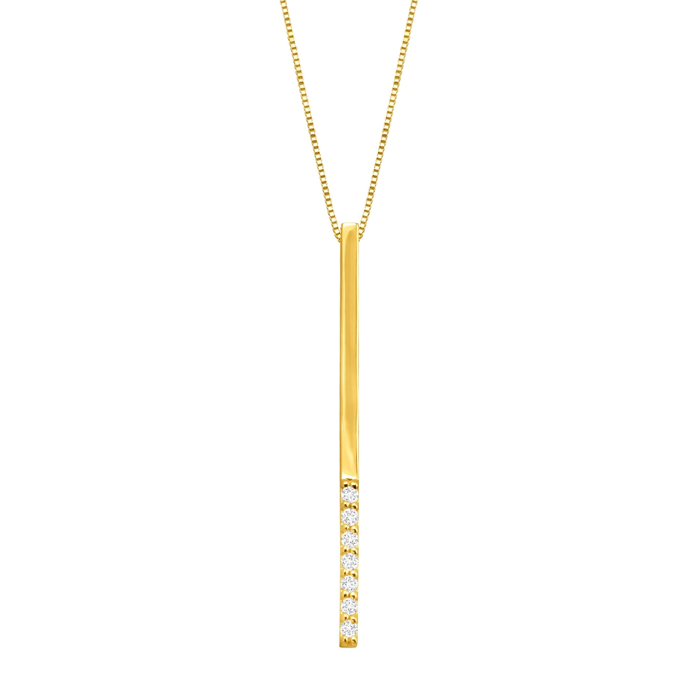 p simple necklace yellow solid vertical gold bar pendant vrai oro products and