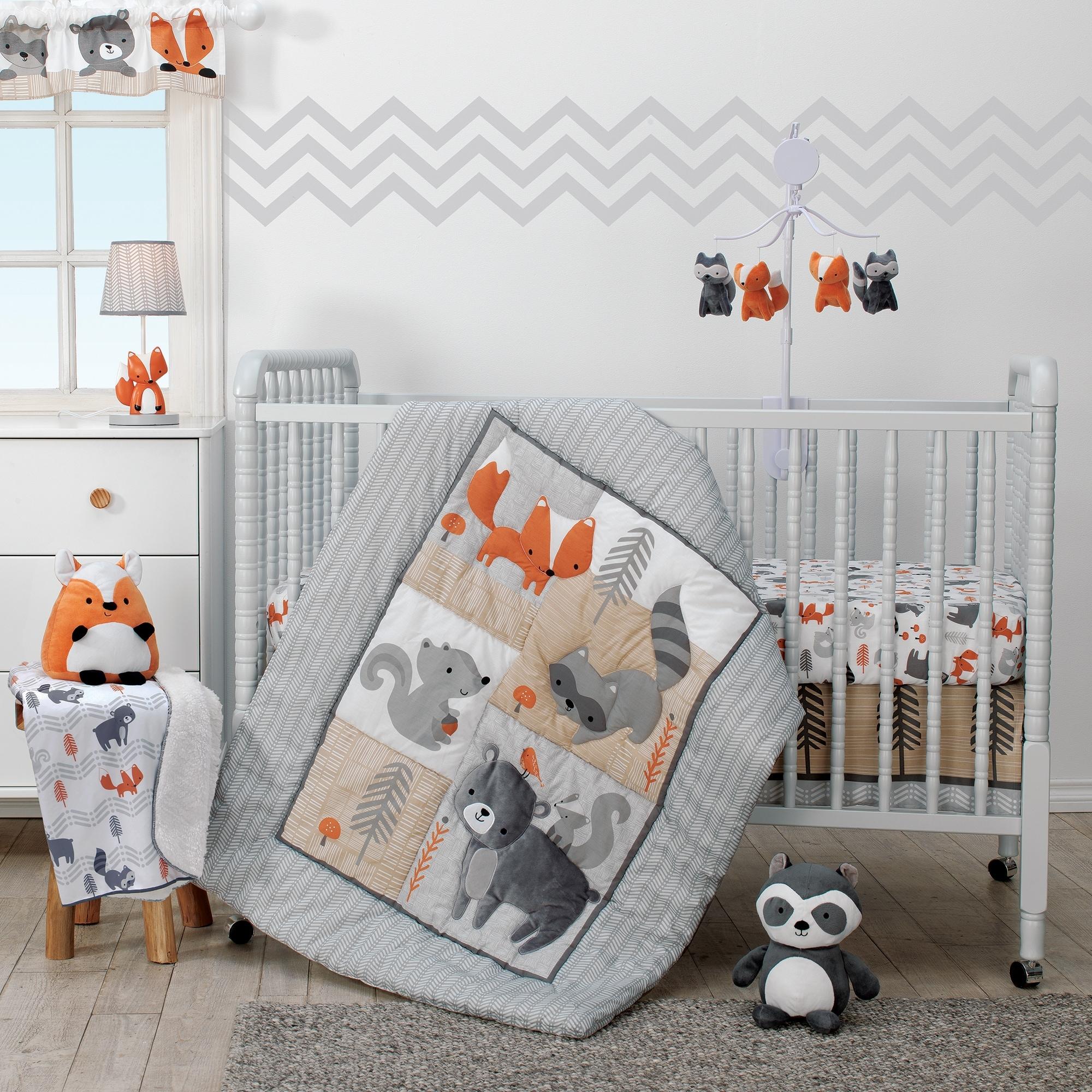 Navy Grey and Orange Woodland Crib Bedding