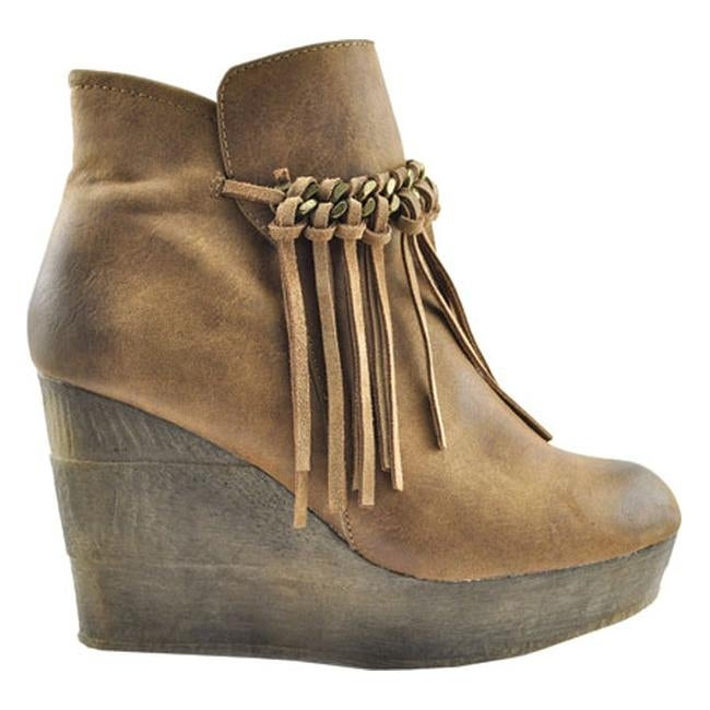 7ca50a2043fe Shop Sbicca Women s Zepp Platform Wedge Bootie Tan Faux Leather - On Sale -  Free Shipping Today - Overstock - 12081202