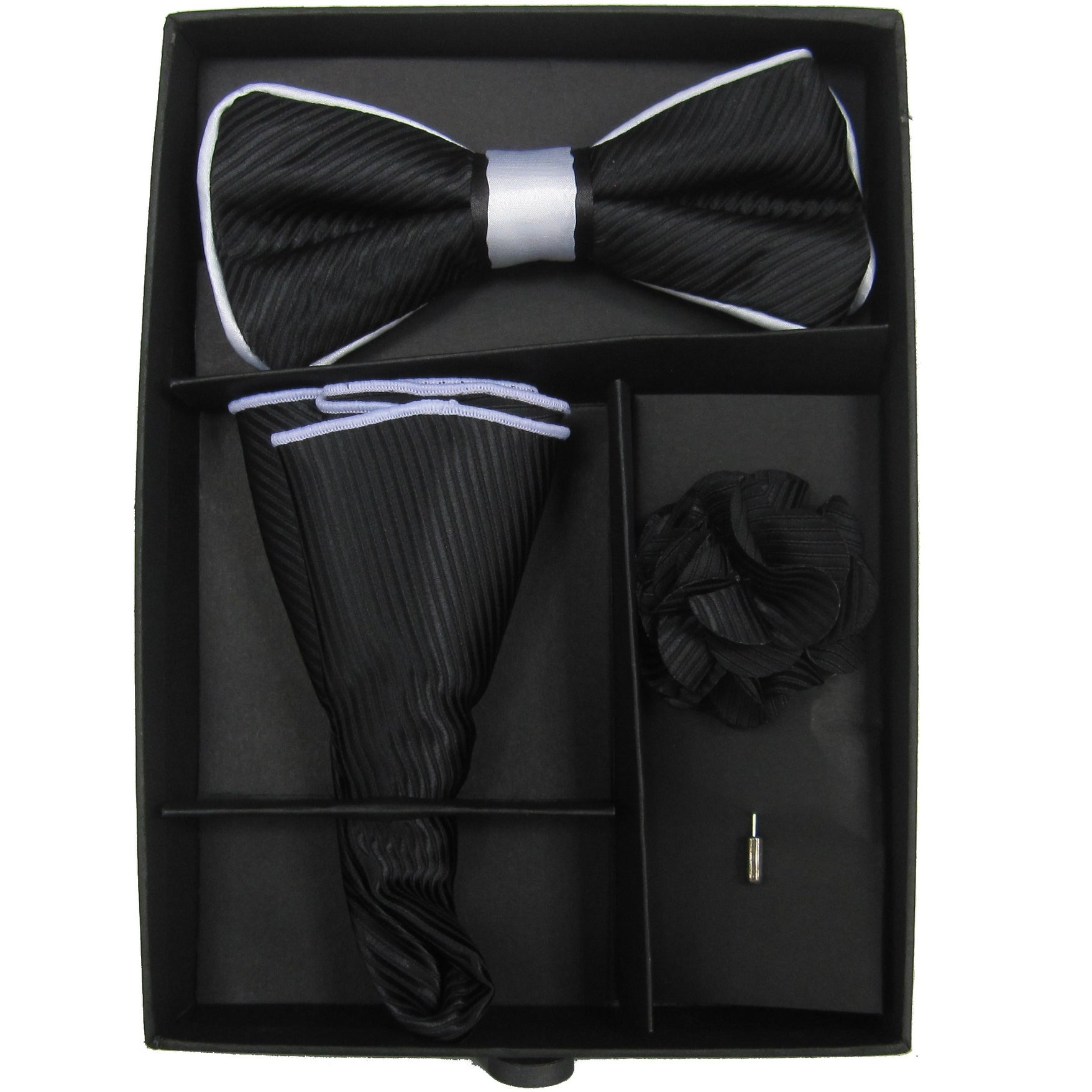 Shop Mens Black White Solid Bow Tie With Matching Hanky And Lapel