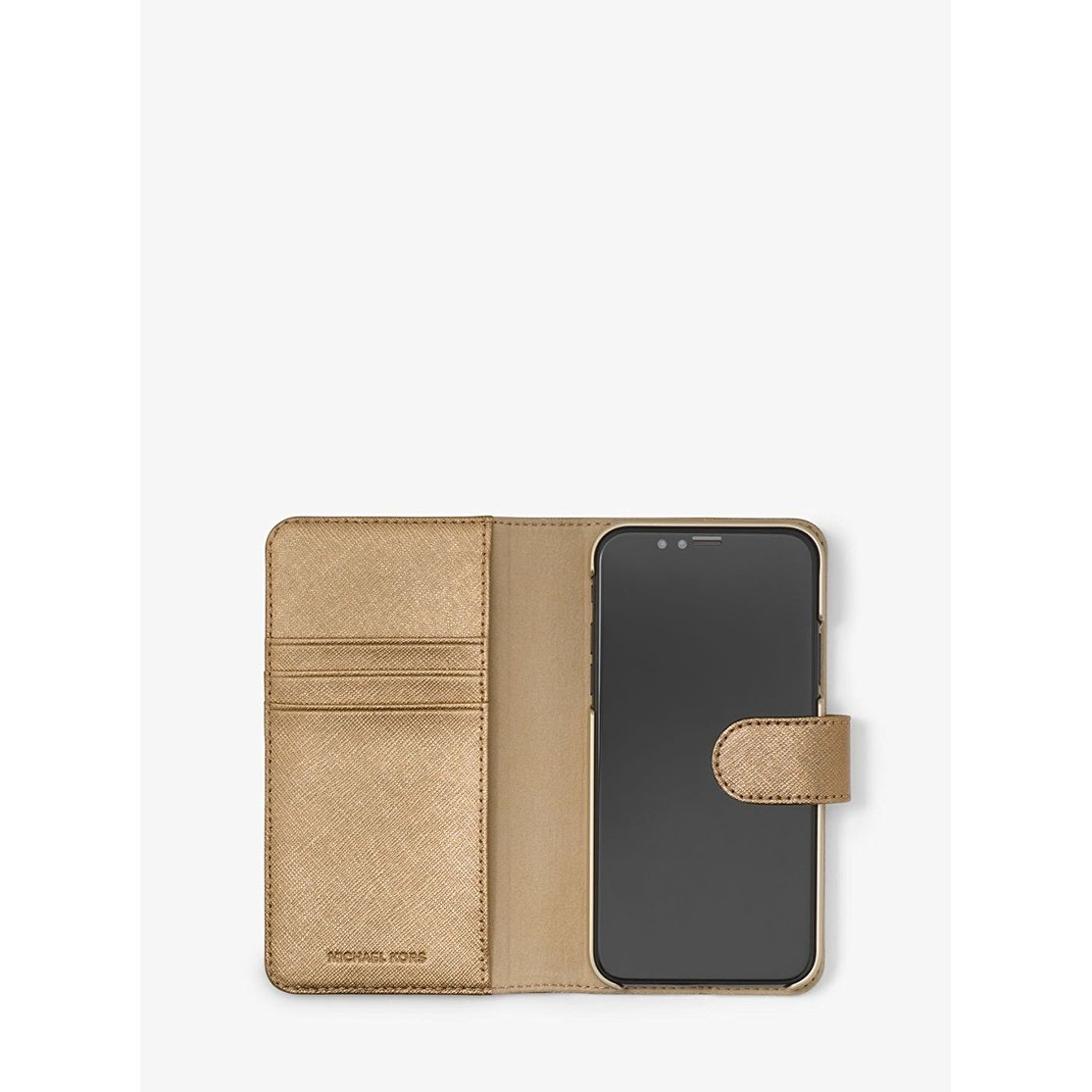 cb1d9a13b055 Shop Michael Kors Metallic Saffiano Leather Folio Case For iPhone X, Pale  Gold - Free Shipping Today - Overstock - 22045618