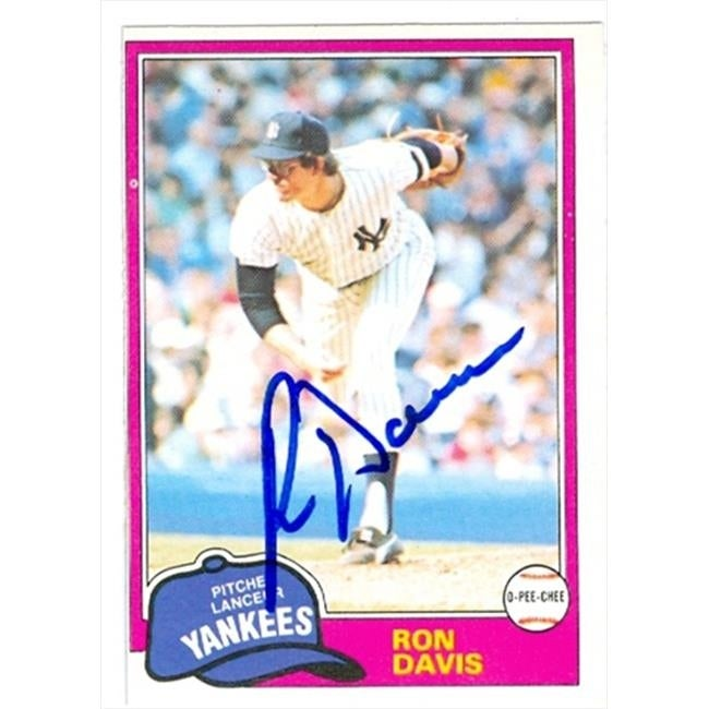 Ron Davis Autographed Baseball Card New York Yankees 1981