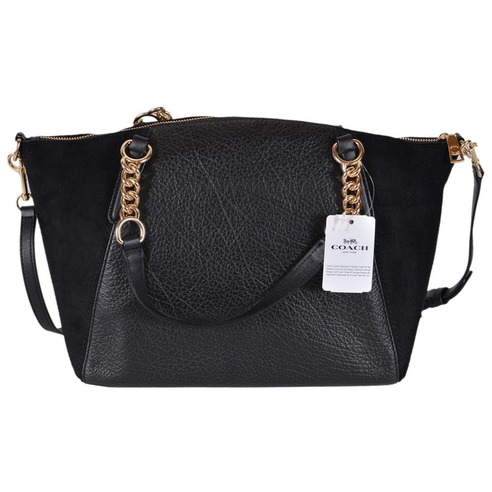 Shop Coach Womens F31410 Small Black Leather Suede Kelsey Crossbody Handbag Free Shipping Today 25560179