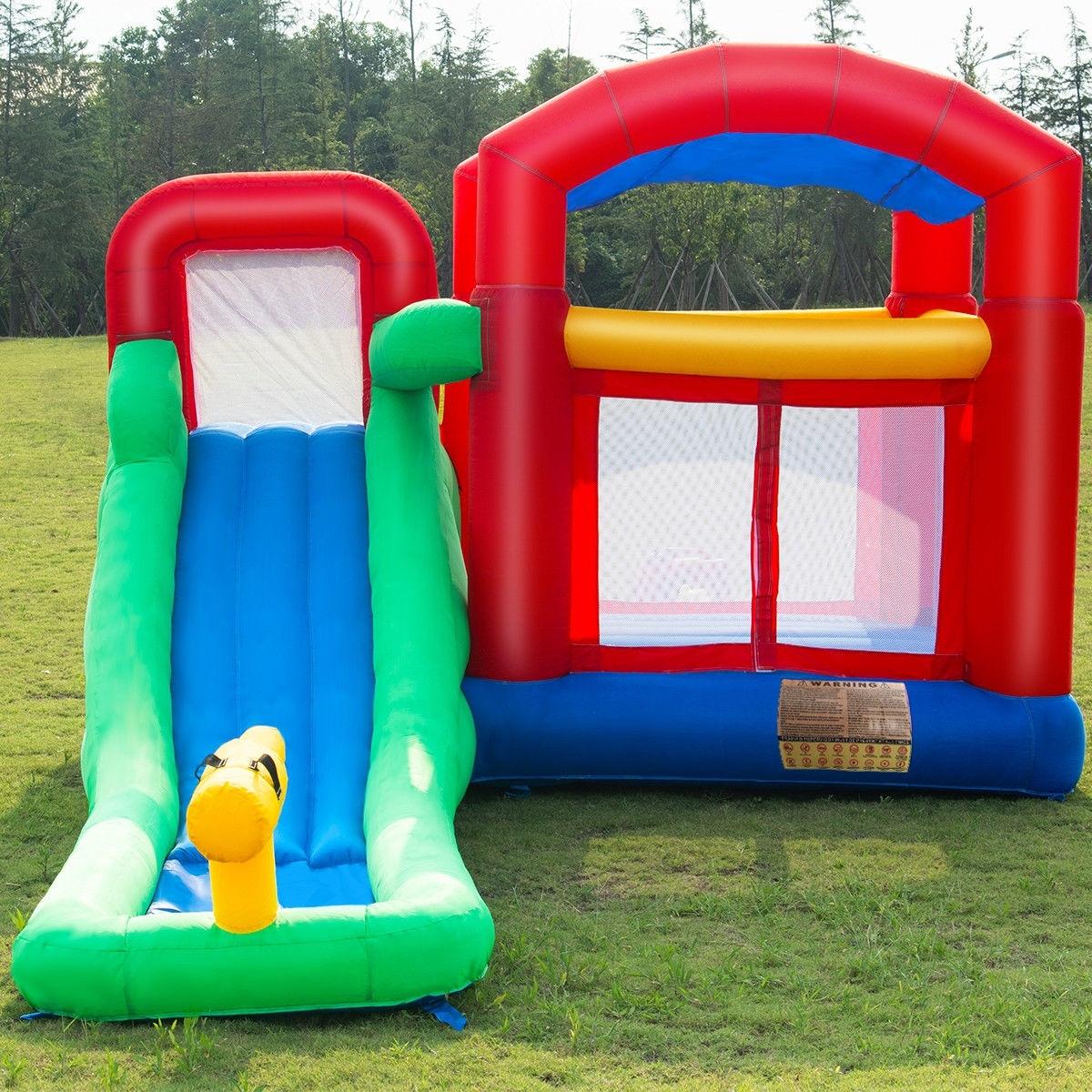 Goplus Inflatable Moonwalk Slide Bounce House Kids Jumper Bouncer Castle  W Storage Bag 3100be166