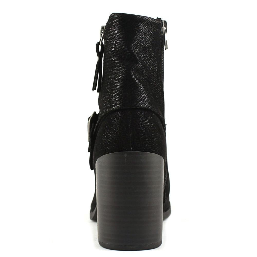 High-End Brand Report Yurick Round Toe Synthetic Mid Calf Boot Black For Women Sale