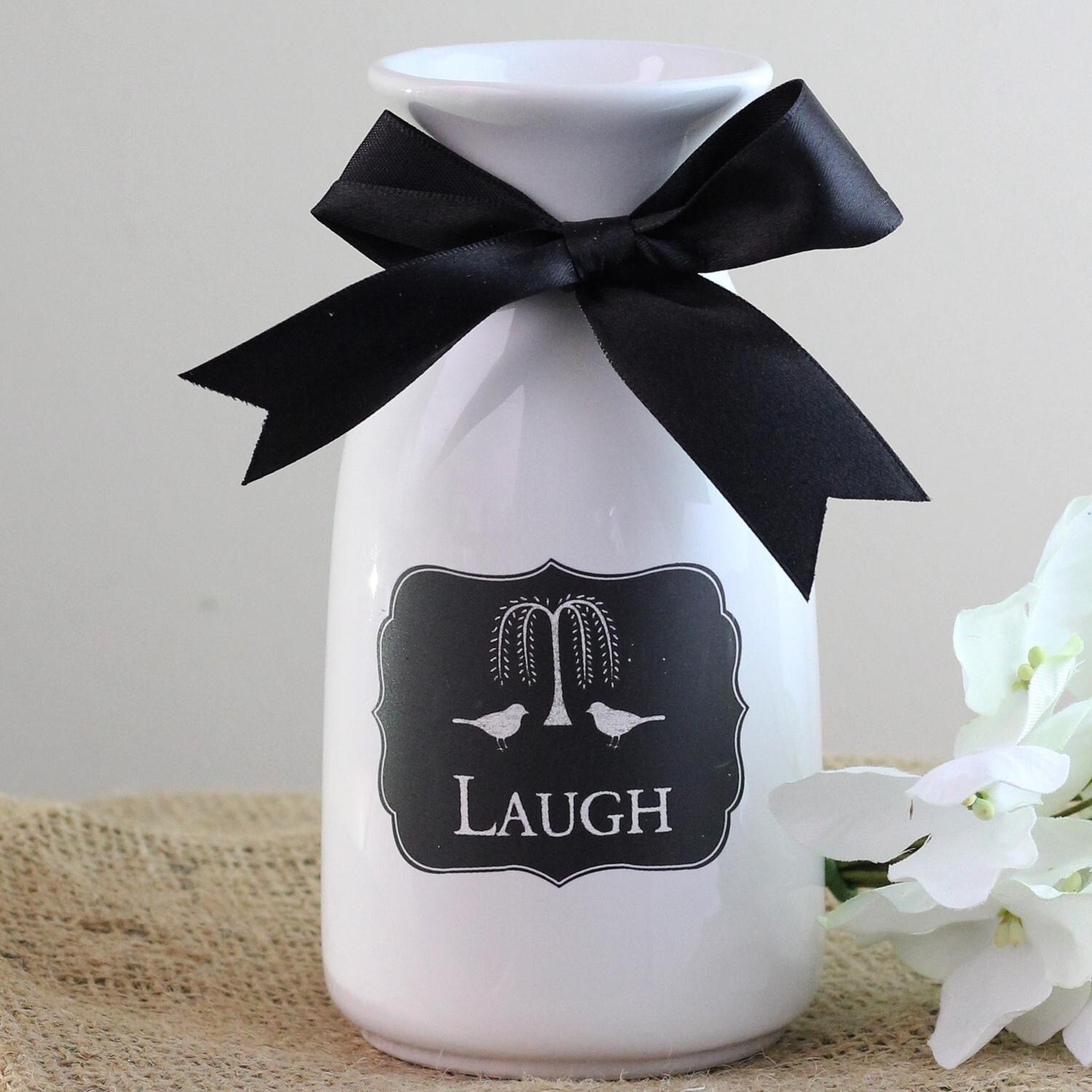 6 Decorative White Milk Bottle Laugh Vase With Black Bow Free Shipping On Orders Over 45 22882365
