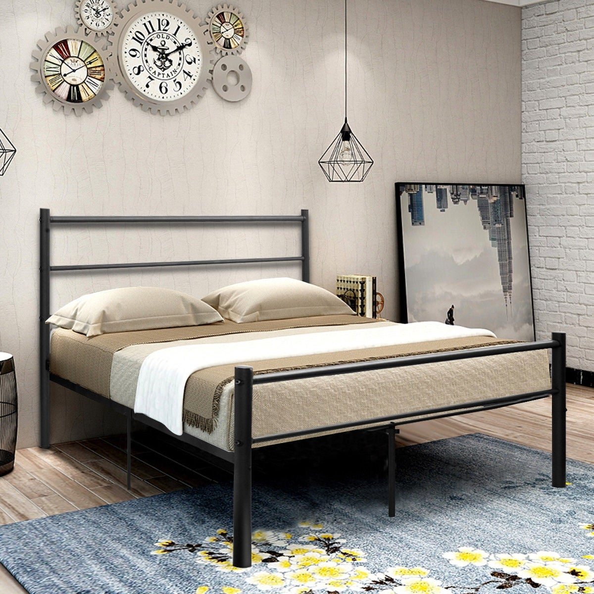 Shop costway black full size metal bed frame platform headboard 10 legs furniture free shipping today overstock com 20445716