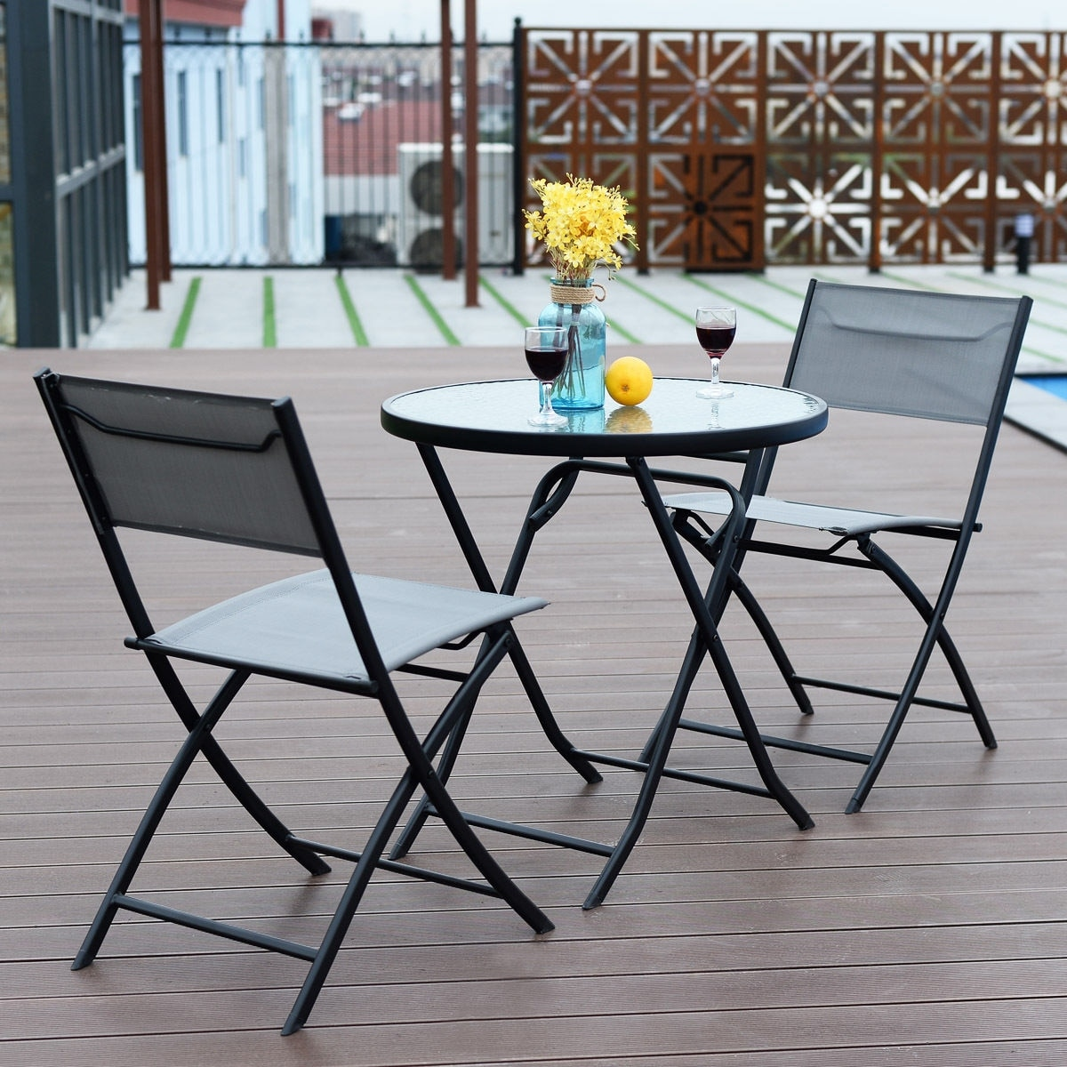 Shop Costway 3 Piece Table Chair Set Metal Tempered Glass Folding