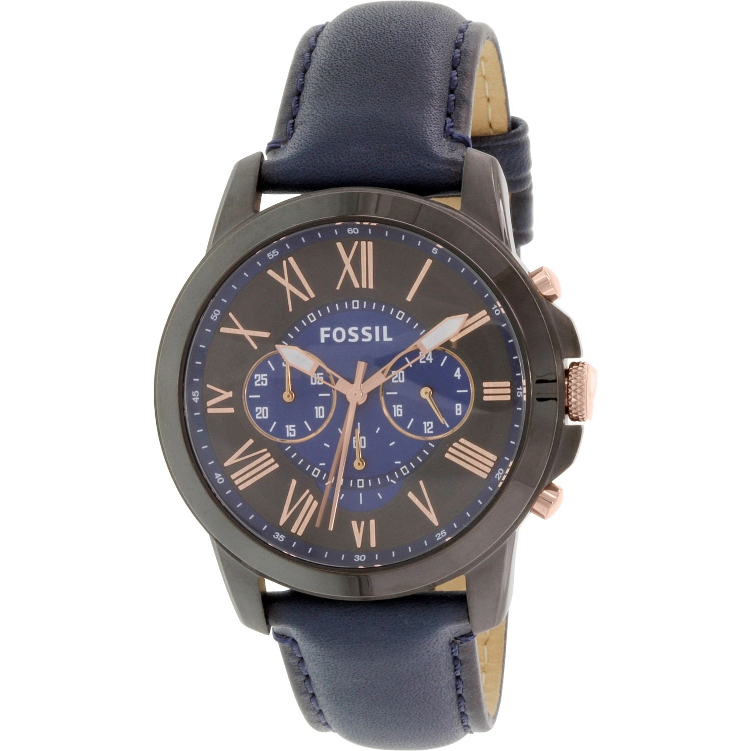 Shop Fossil Mens Grant Blue Leather Quartz Fashion Watch Free Men Shipping Today 18616747