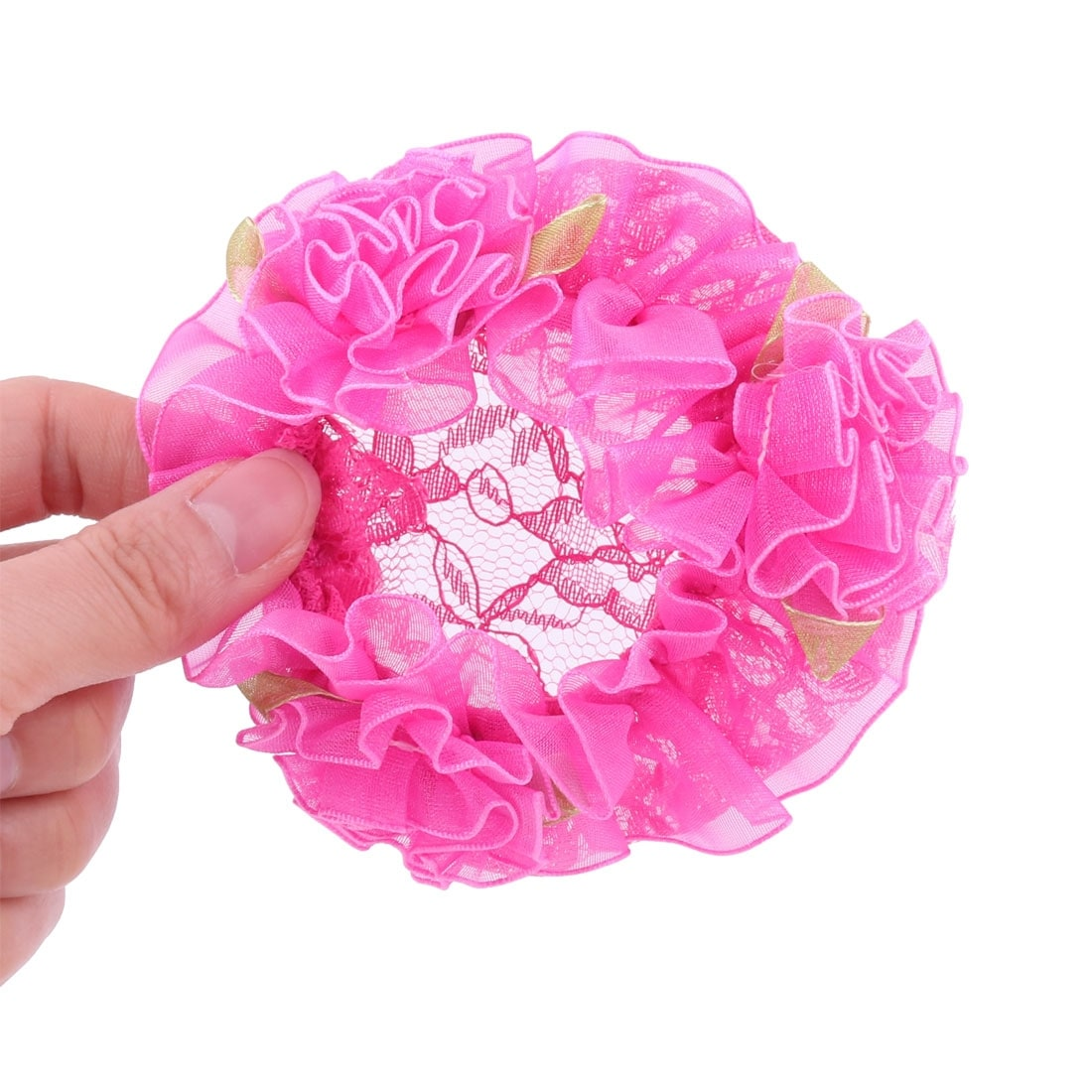 Women Flower Decor Elastic Meshy Dance Hairdressing Cover Band Snood