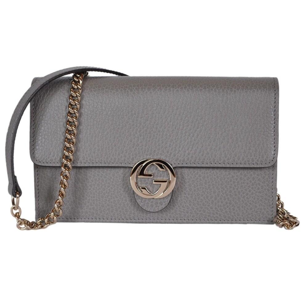 a3f72edb446 Gucci 510314 Grey Leather Interlocking GG Crossbody Wallet Bag Purse Clutch  - 7.5
