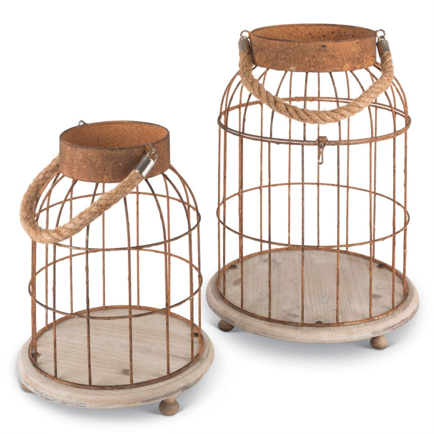 Set of 2 Rustic Antique Style Open Top Wire Bird Cages with Hanging ...