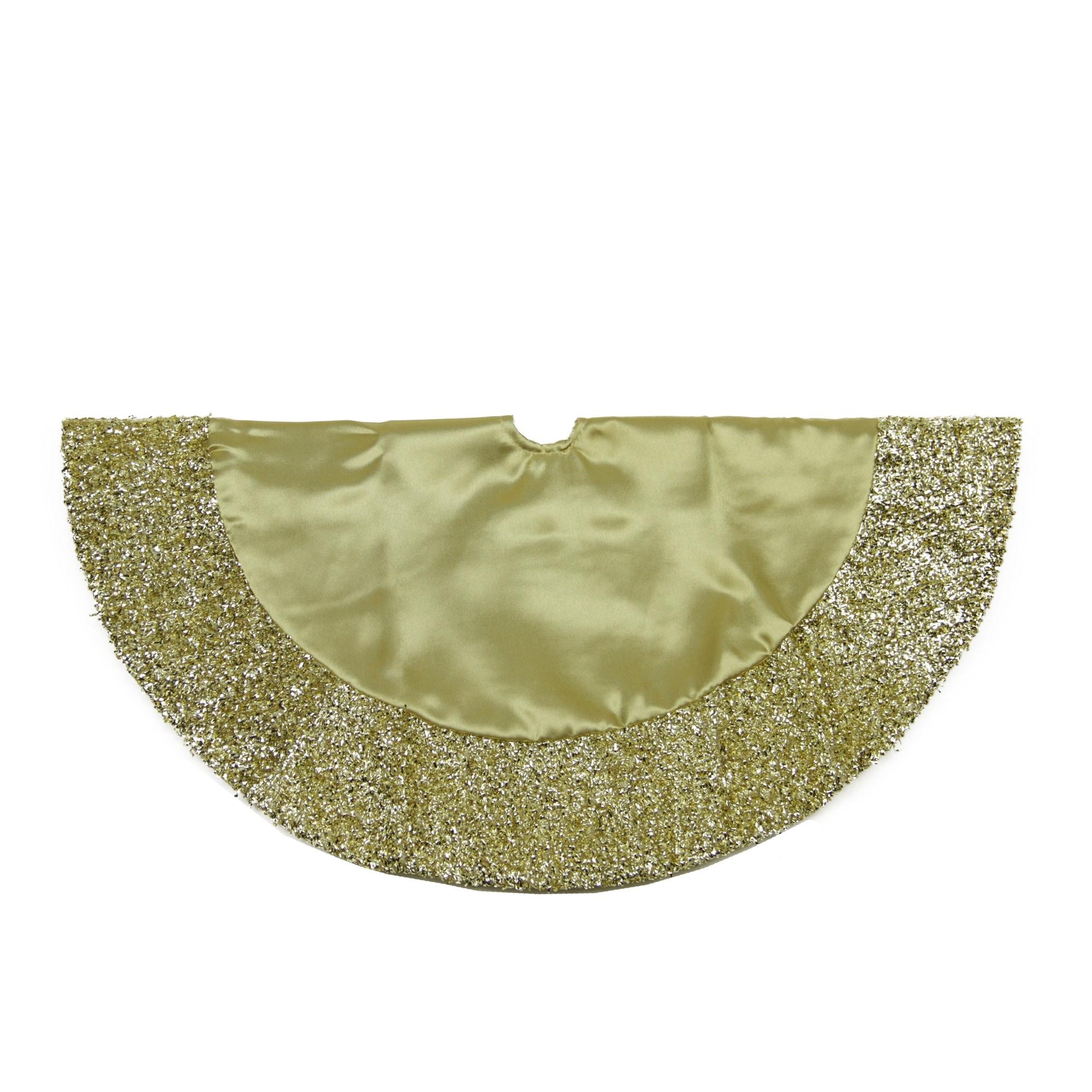 20 Gold Mini Christmas Tree Skirt With Metallic Tinsel Trim