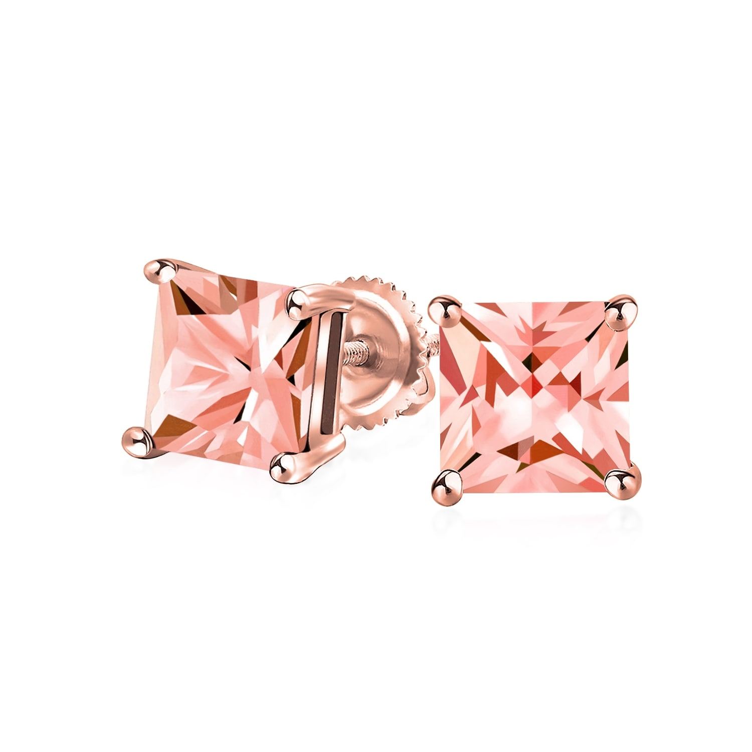 1770d073079 1 CTW Pink CZ Princess Cut Stud Earrings Imitation Morganite Cubic Zirconia  Rose Gold Plated Sterling Silver Screw Back