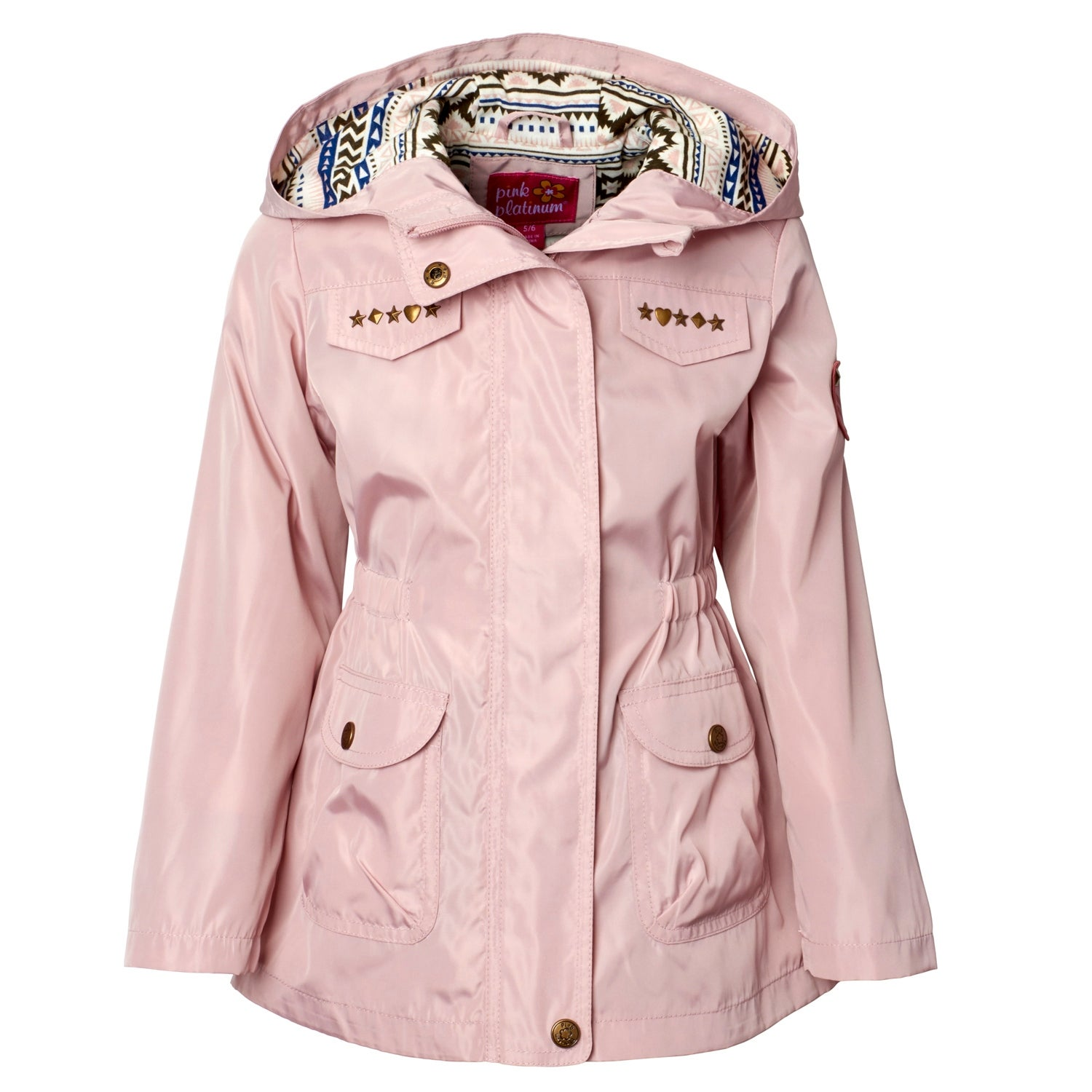 on clothing silver with girls starts puffer winter platinum overstock shipping little shoes print jacket free over product orders pink coat