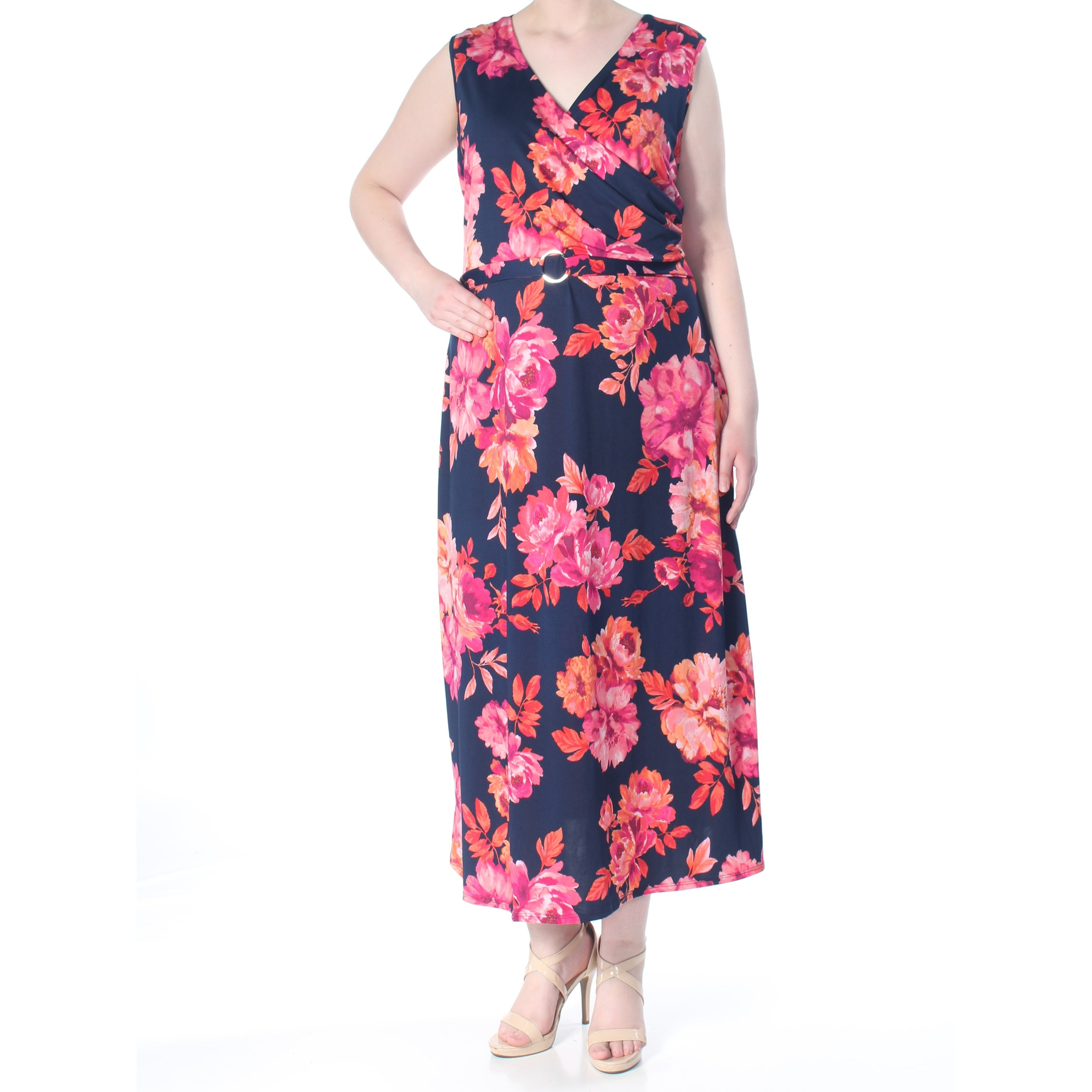 NY COLLECTION Womens Pink Floral Print Sleeveless Maxi Dress Plus Size: 2X