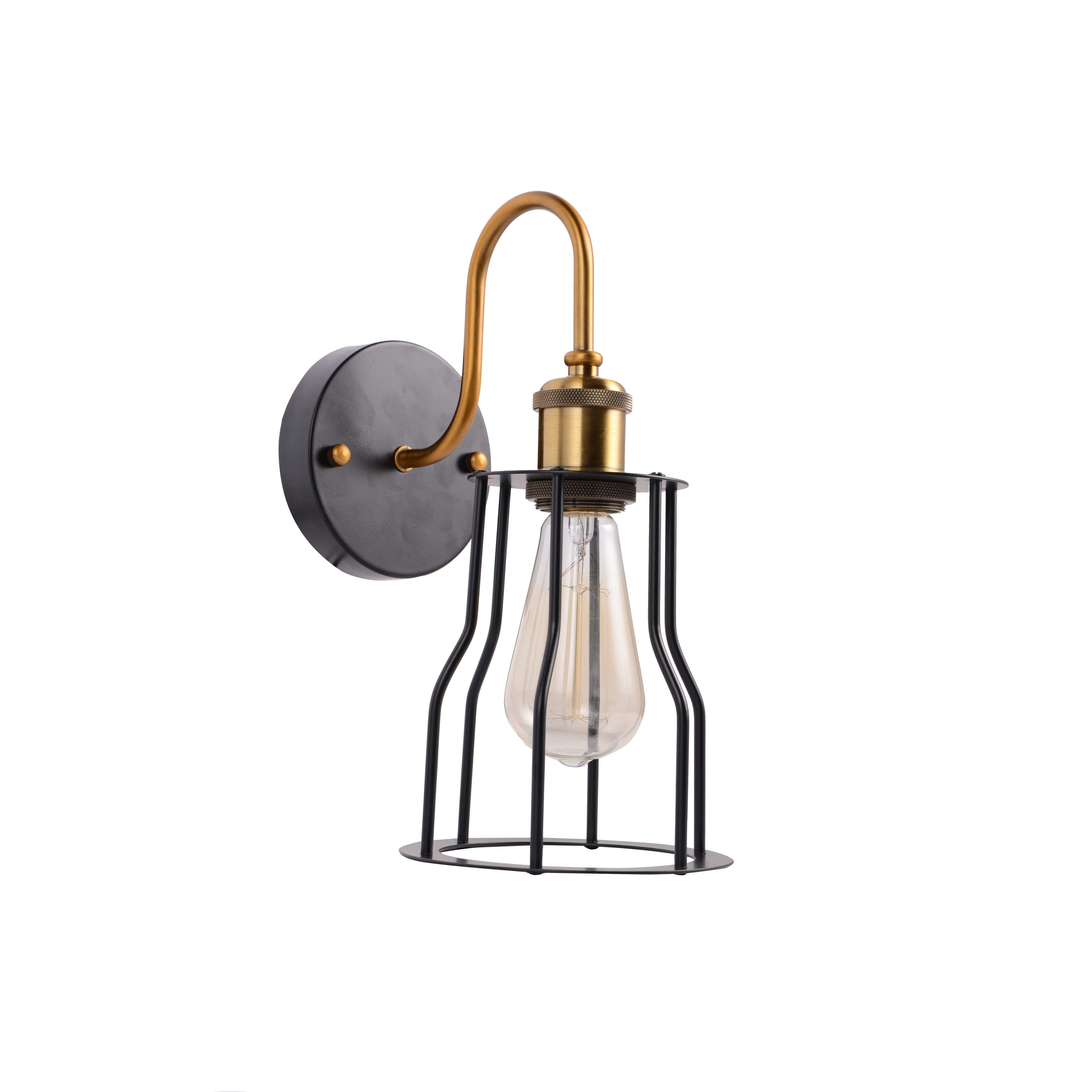 Vintage industrial wire cage wall light fixture black wall sconce ...