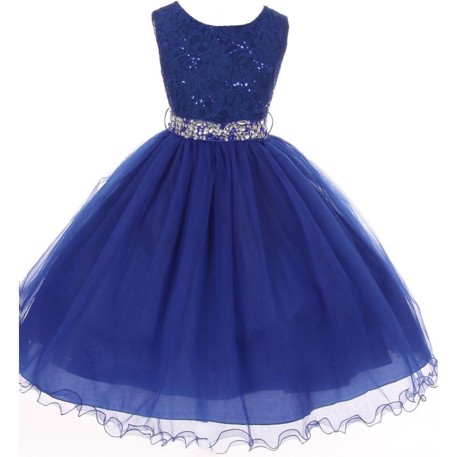 9b5a22e9dba8c Shop Flower Girl Dress Glitter Sequin Top & Rhinestone Sash Royal JK 3670 - Free  Shipping Today - Overstock - 16743274