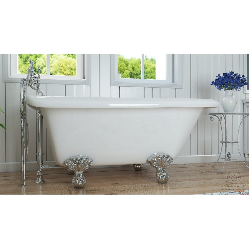 Pelham & White Luxury 54 Inch Clawfoot Tub with Chrome Ball and Claw ...