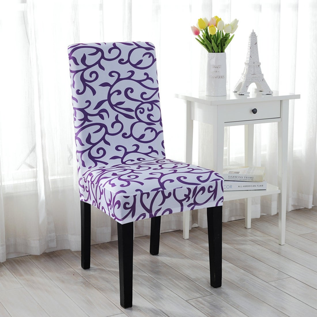 Unique Bargains 2 Pcs Elastic Short Decorative Dining Chair Cover