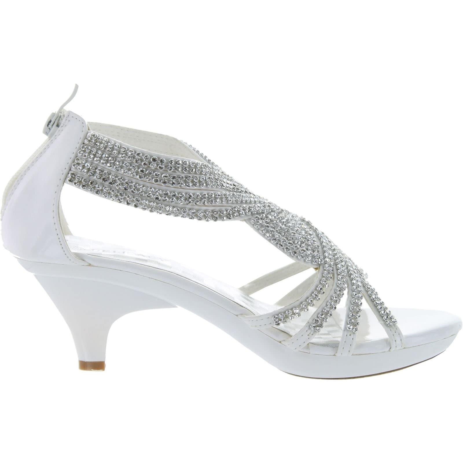 Delicacy Womens Angel-37 Strappy Rhinestone Dress Sandal Low Heel ...
