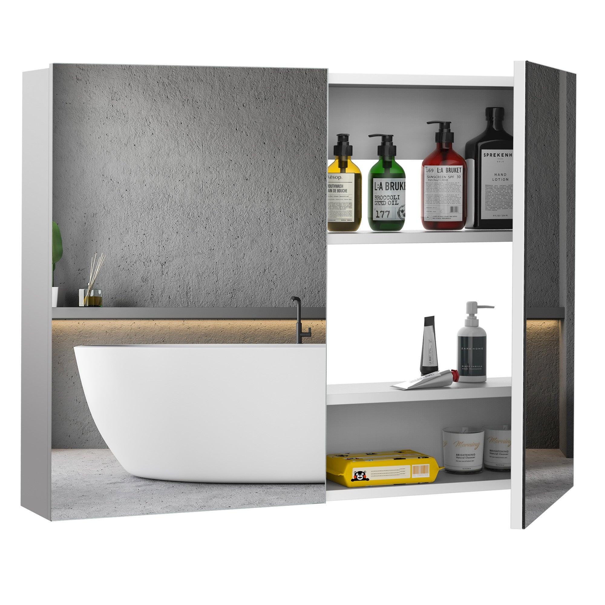 Homcom Double Door Wall Mounted Bathroom Mirror Medicine Cabinet With Modern Design Large Storage Quiet Hinges 23 5 31 5 6 Overstock 30966698