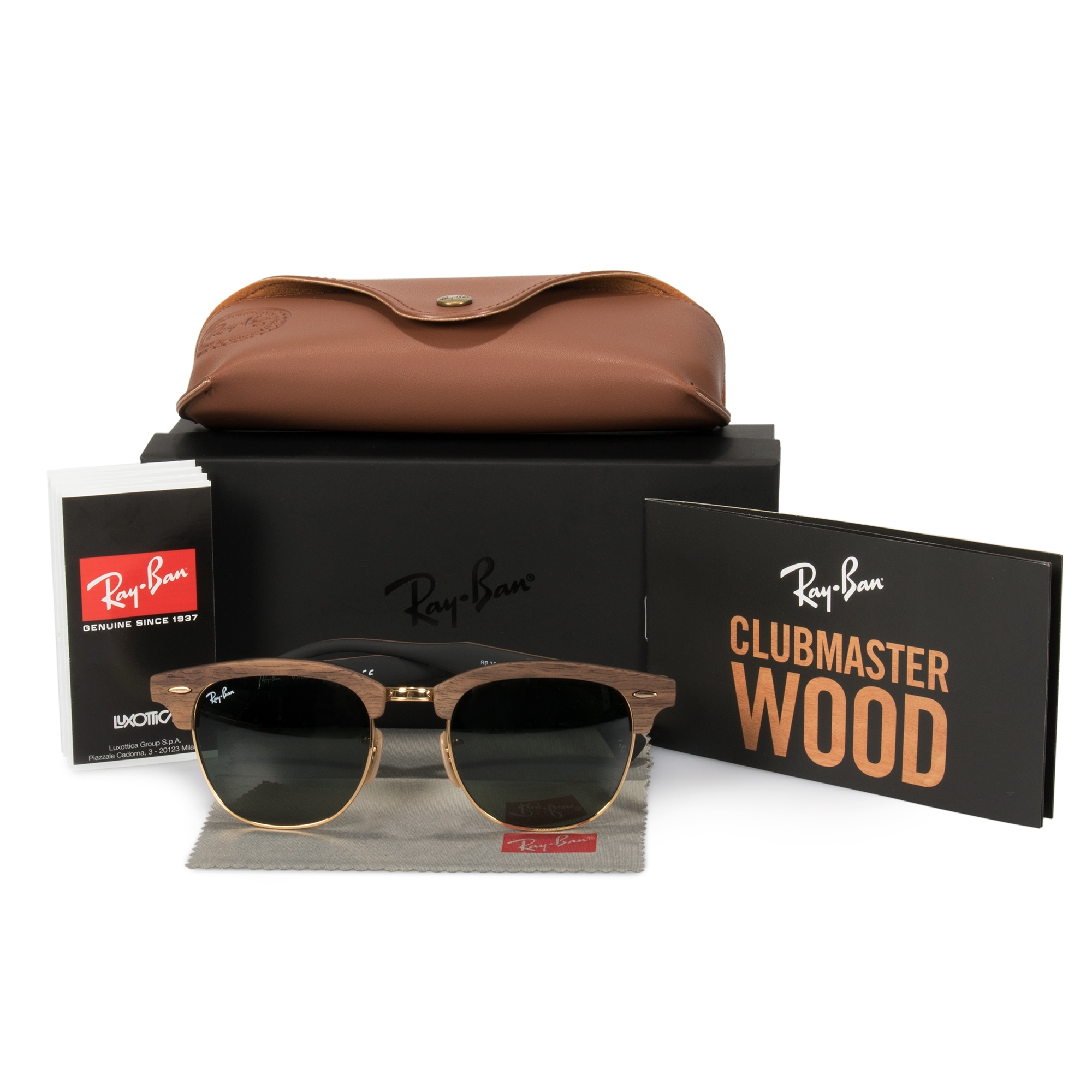 e5857863ddf8c Shop Ray-Ban Clubmaster Wood Sunglasses RB3016M 1181 51 - Free Shipping  Today - Overstock - 23138772