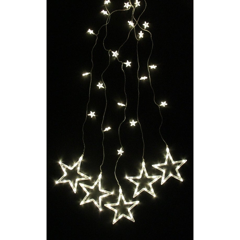 shop set of 100 led clear star silhouette window curtain christmas lights clear wire free shipping on orders over 45 overstockcom 18284052