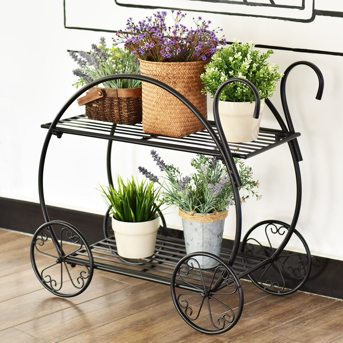 Shop costway heavy duty metal flower cart pot rack plant display stand holder decor black free shipping today overstock com 18770724