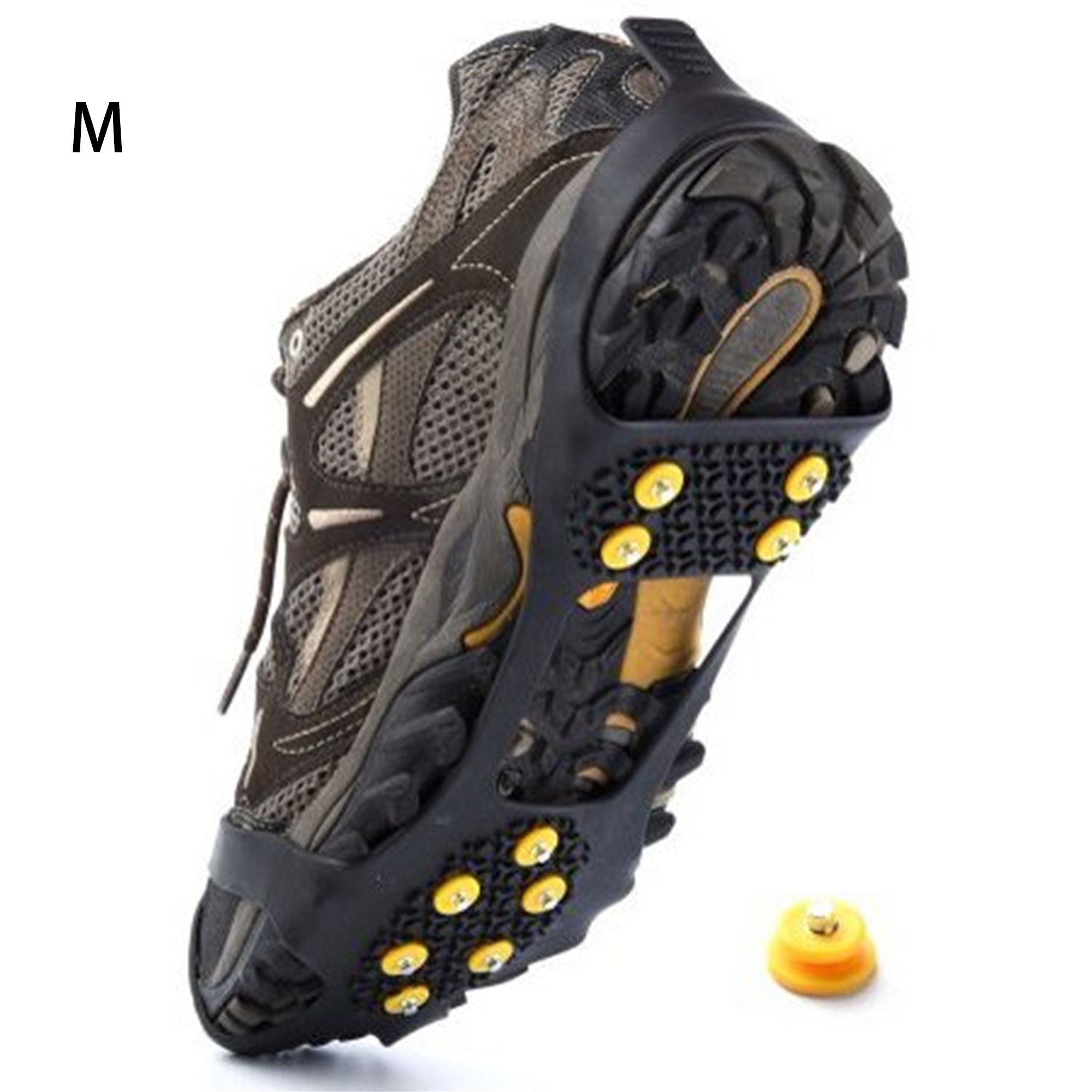 Ice Snow Grips Anti Slip On Over shoe Boot Studs Crampons Cleats Spikes Grippers