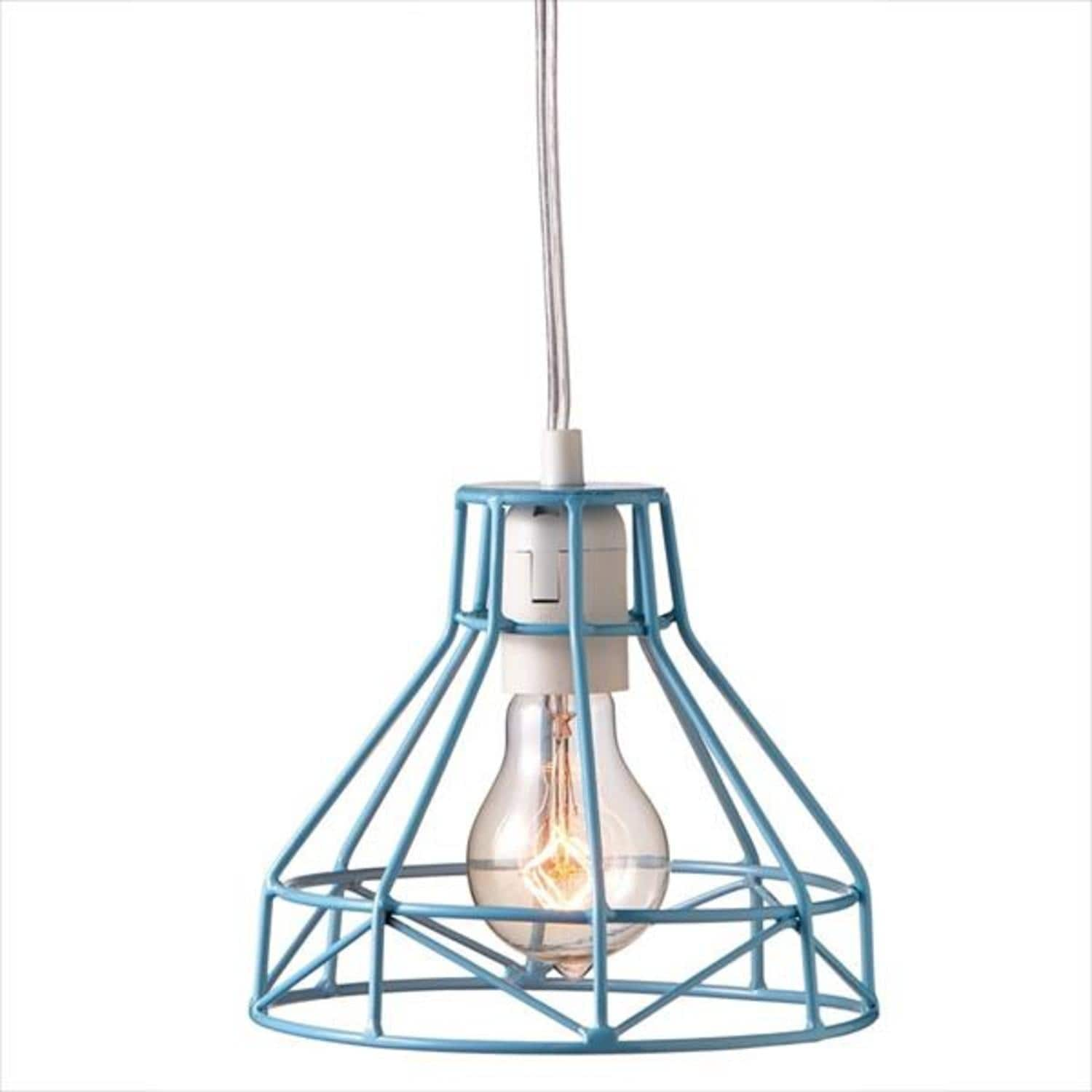 Shop Pack Of 2 Sky Blue Cagey Wire Plug In Pendant Lights 725 Wiring A To Light Fixture Free Shipping Today 16661765